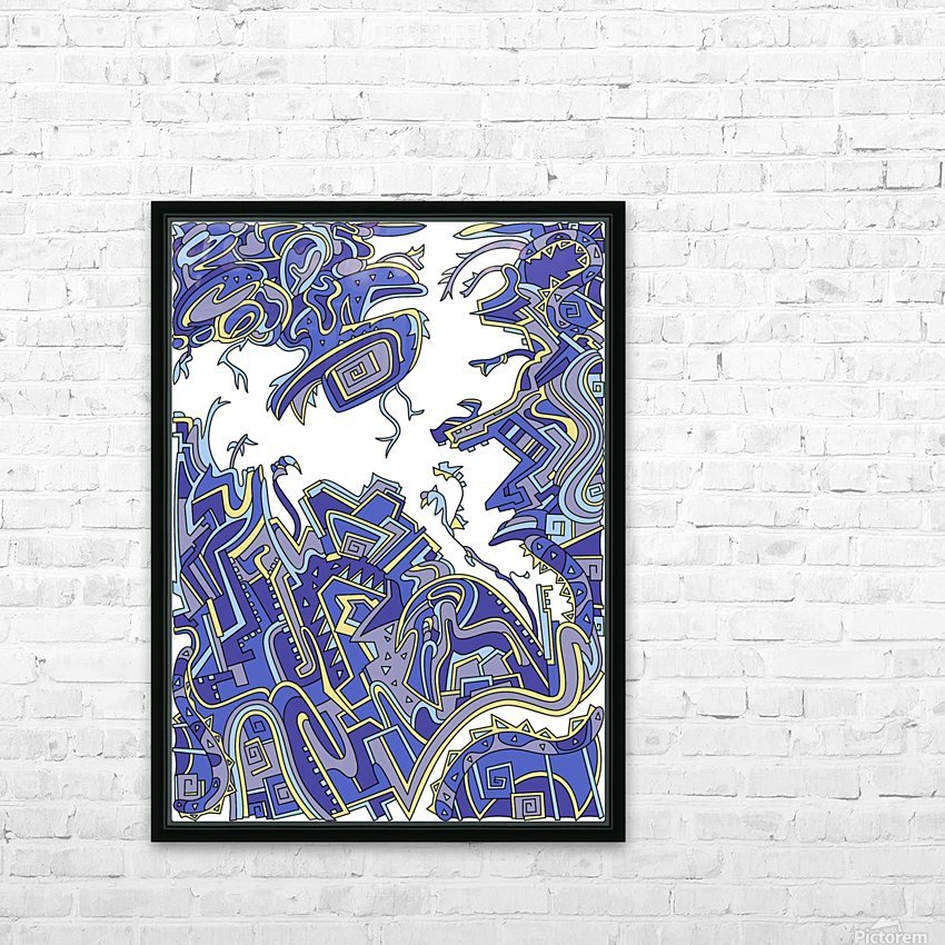 Wandering Abstract Line Art 34: Blue HD Sublimation Metal print with Decorating Float Frame (BOX)