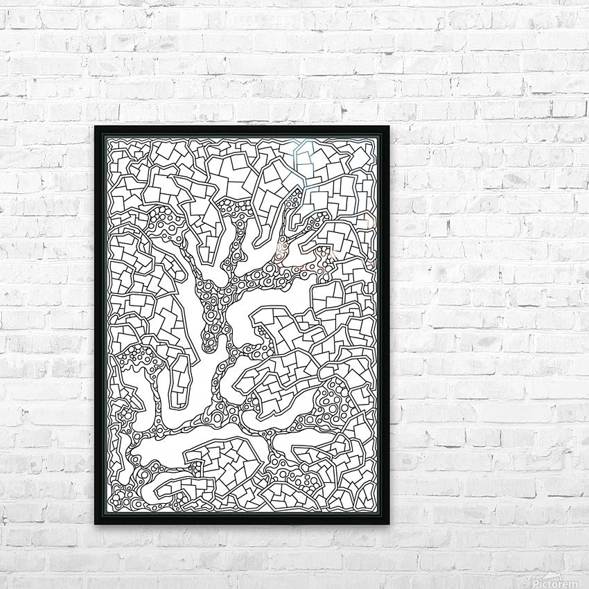 Wandering Abstract Line Art 40: Black & White HD Sublimation Metal print with Decorating Float Frame (BOX)