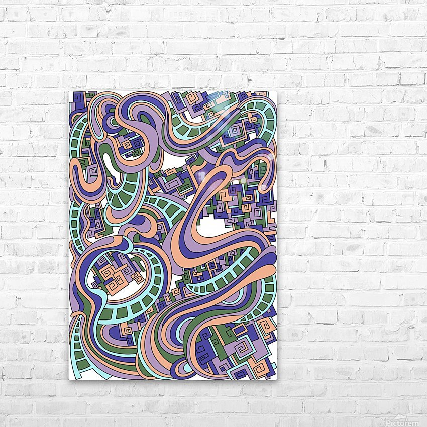 Wandering Abstract Line Art 45: Purple HD Sublimation Metal print with Decorating Float Frame (BOX)