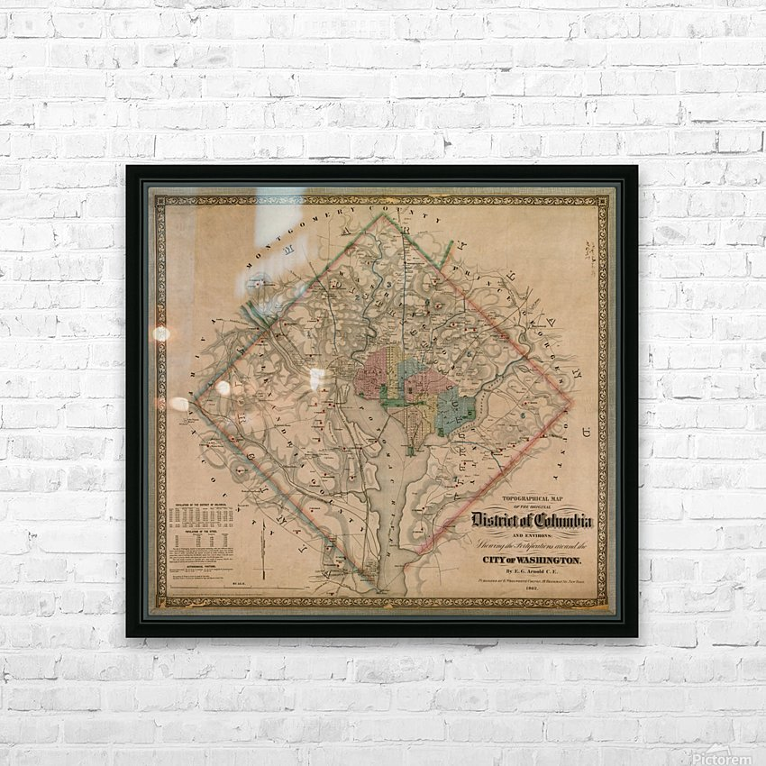 19th Century District of Columbia Map 1862 HD Sublimation Metal print with Decorating Float Frame (BOX)