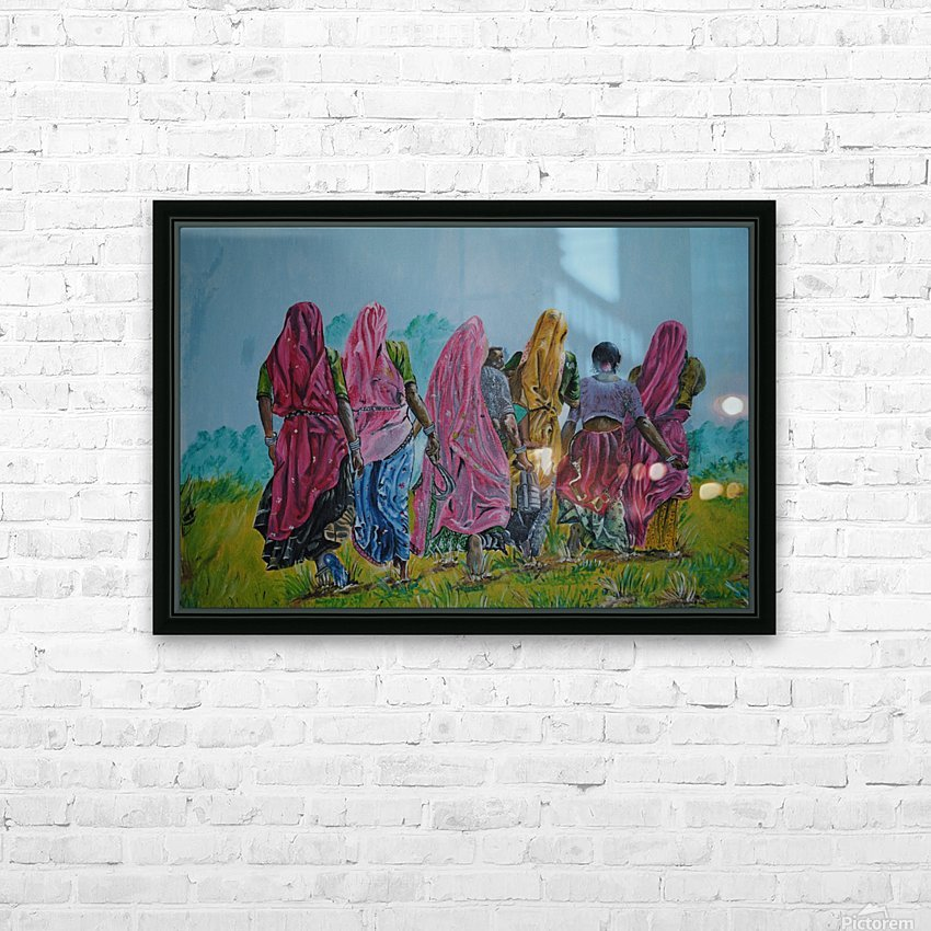 Village Women_DKS HD sublimation métal imprimé avec décoration flotteur cadre (boîte)