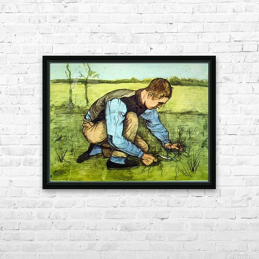 Cutting Grass by Van Gogh HD Sublimation Metal print with Decorating Float Frame (BOX)