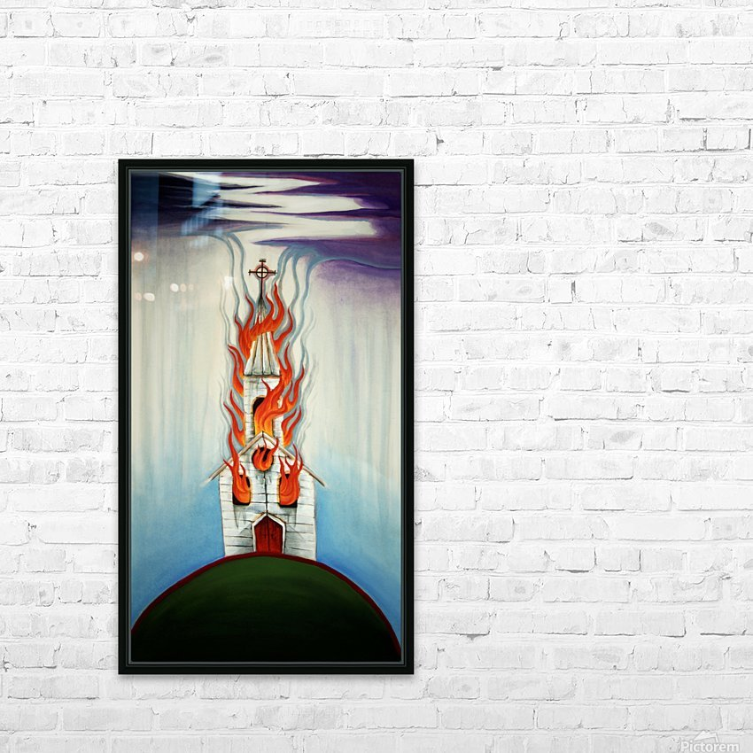 Burning Church HD Sublimation Metal print with Decorating Float Frame (BOX)