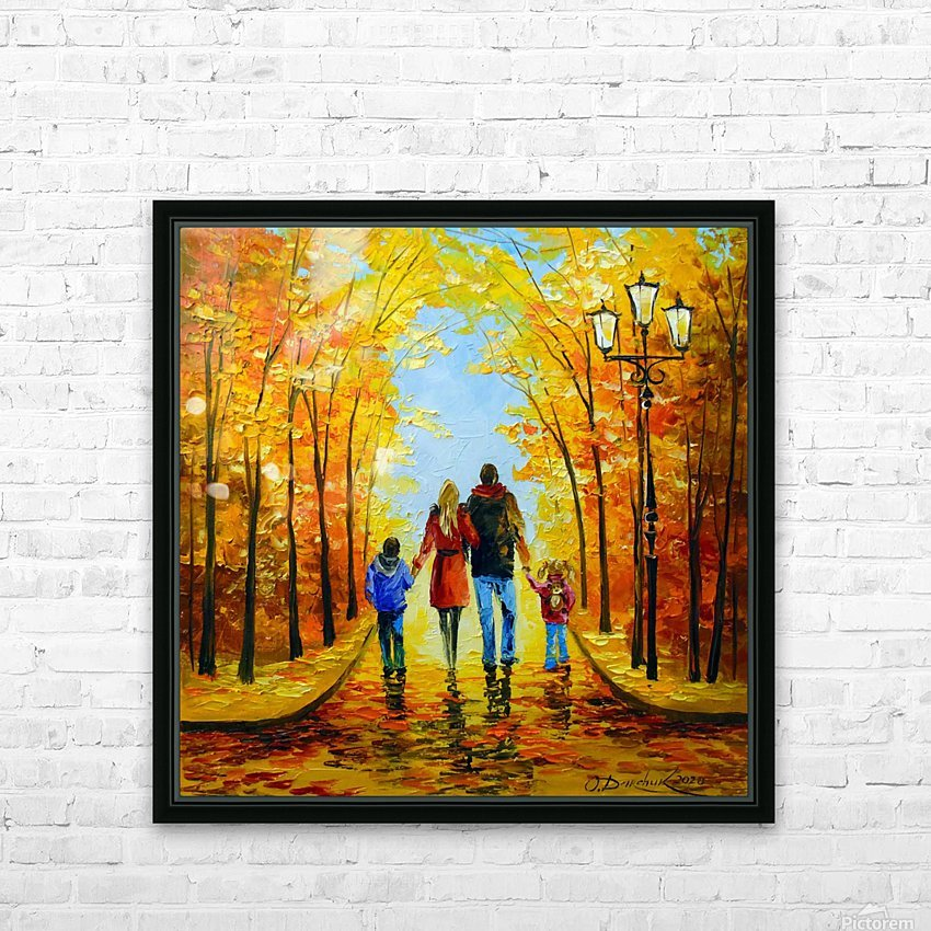 Walk with the whole family in the autumn Park HD Sublimation Metal print with Decorating Float Frame (BOX)