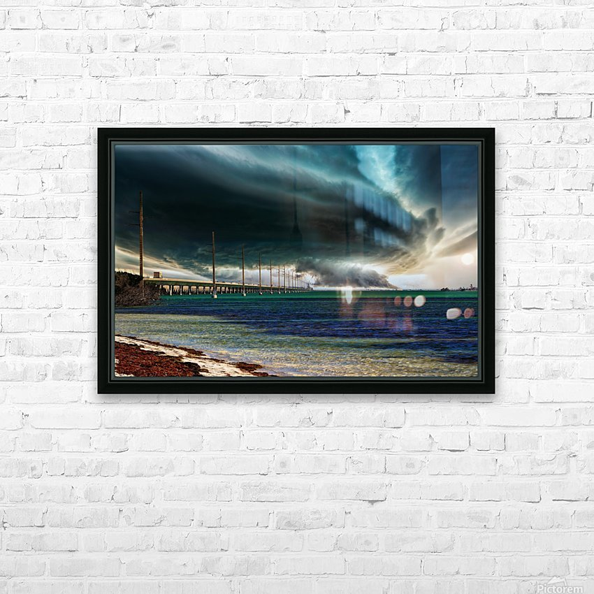 Storm clouds over Bridge HD Sublimation Metal print with Decorating Float Frame (BOX)