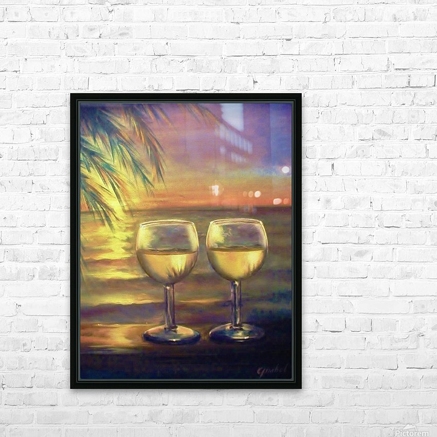 2  White Wines HD Sublimation Metal print with Decorating Float Frame (BOX)
