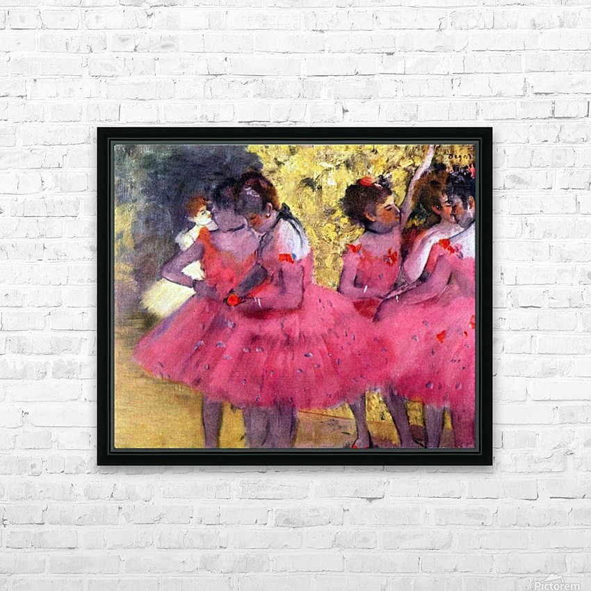 Dancers in pink between the scenes by Degas HD Sublimation Metal print with Decorating Float Frame (BOX)