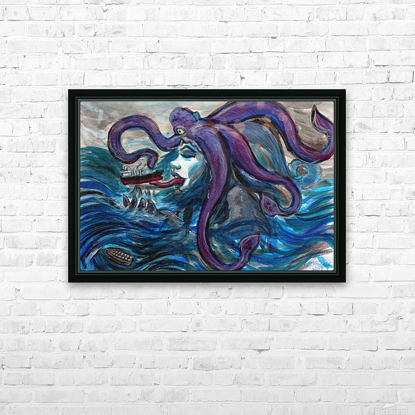 Sea Monster, 1 HD Sublimation Metal print with Decorating Float Frame (BOX)