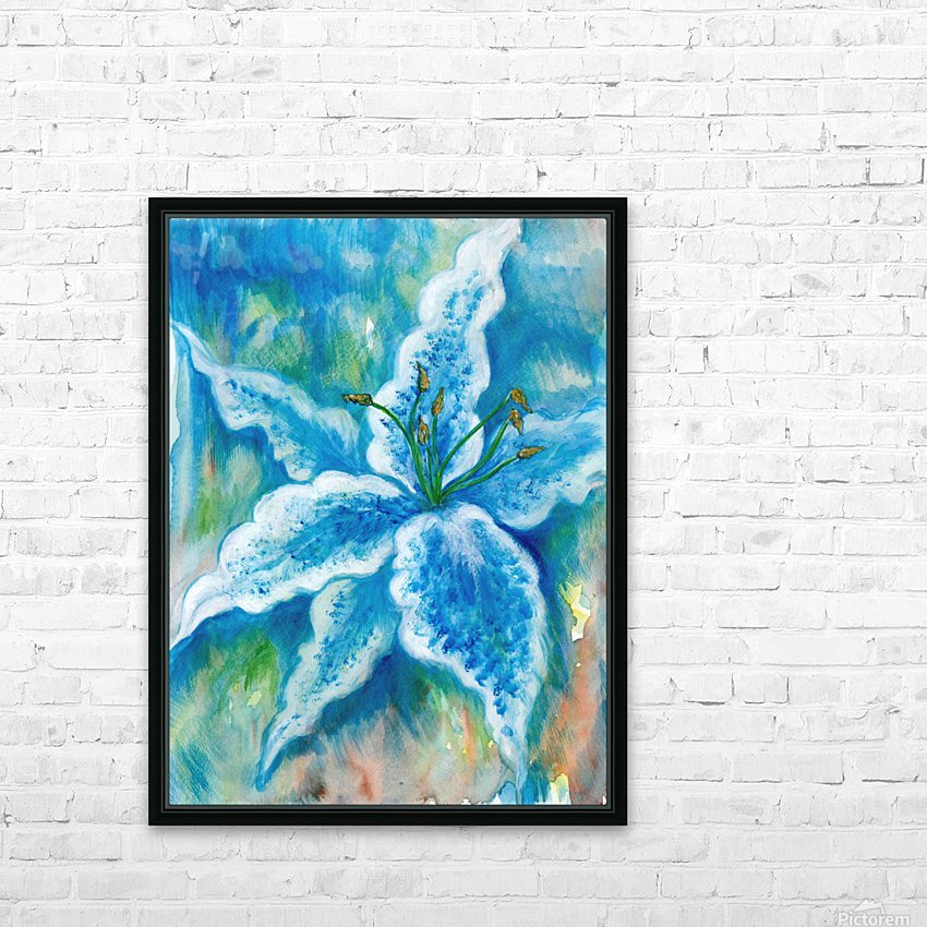 Blue Lily HD Sublimation Metal print with Decorating Float Frame (BOX)