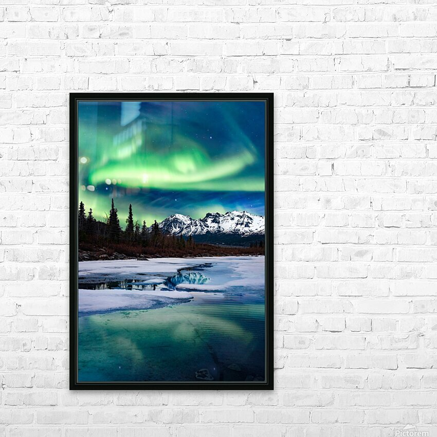 Northern Lights Landscape  HD Sublimation Metal print with Decorating Float Frame (BOX)