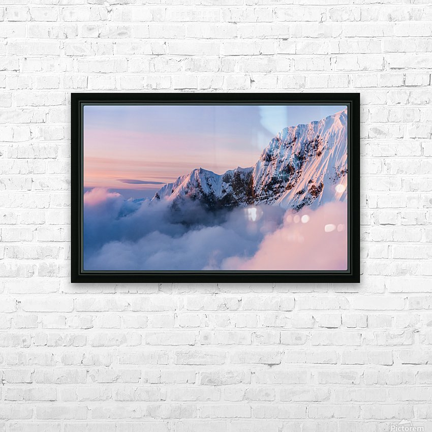 Snowy Peaks HD Sublimation Metal print with Decorating Float Frame (BOX)