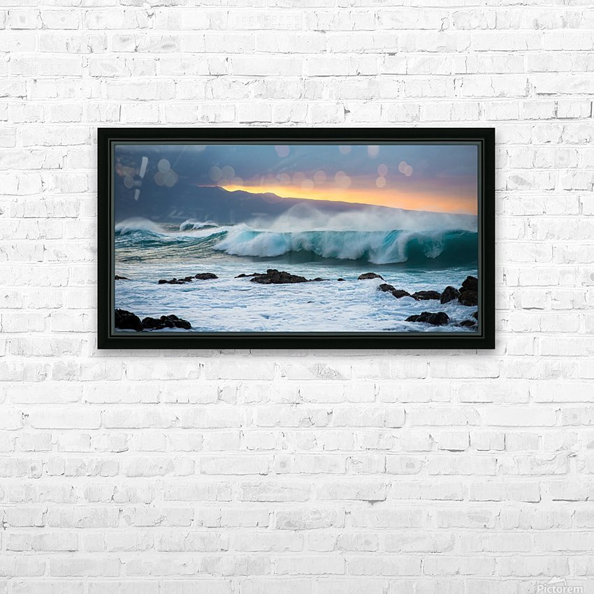 Mountains and Waves HD Sublimation Metal print with Decorating Float Frame (BOX)