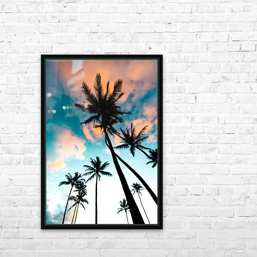 Palm Tree Sunrise HD Sublimation Metal print with Decorating Float Frame (BOX)