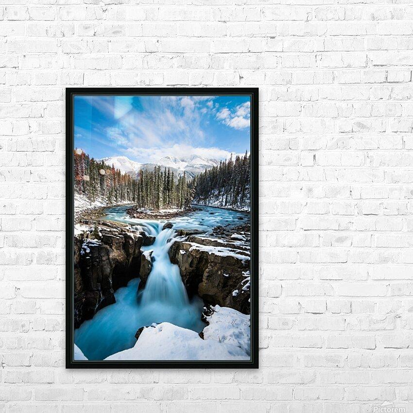 Snowy Sunwapta Falls HD Sublimation Metal print with Decorating Float Frame (BOX)