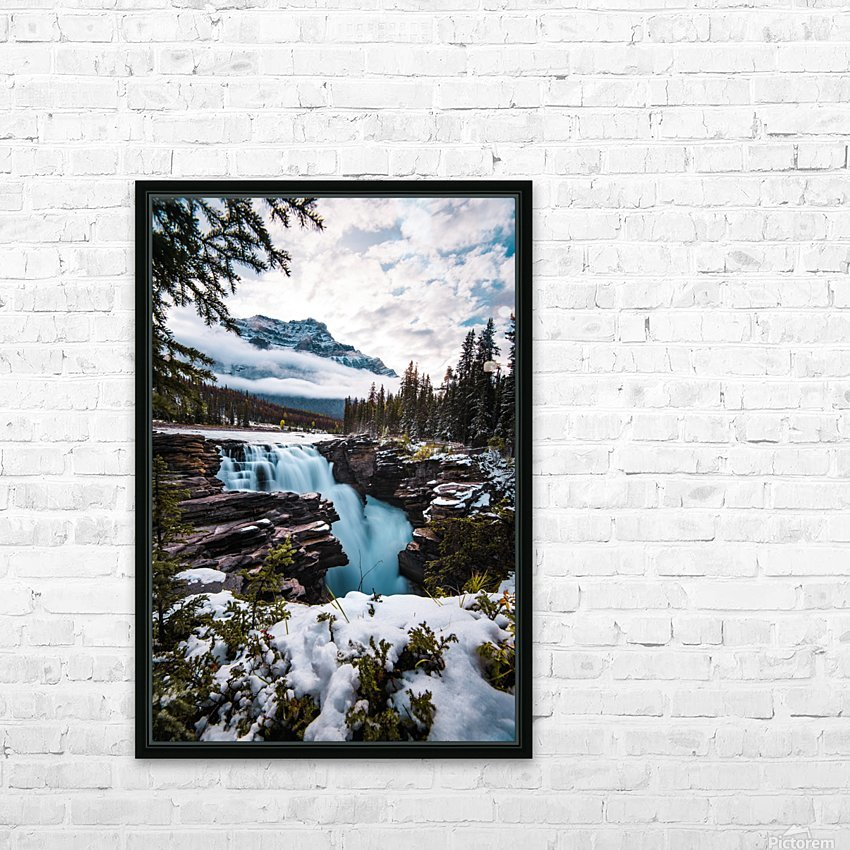 Wintry Waterfall HD Sublimation Metal print with Decorating Float Frame (BOX)