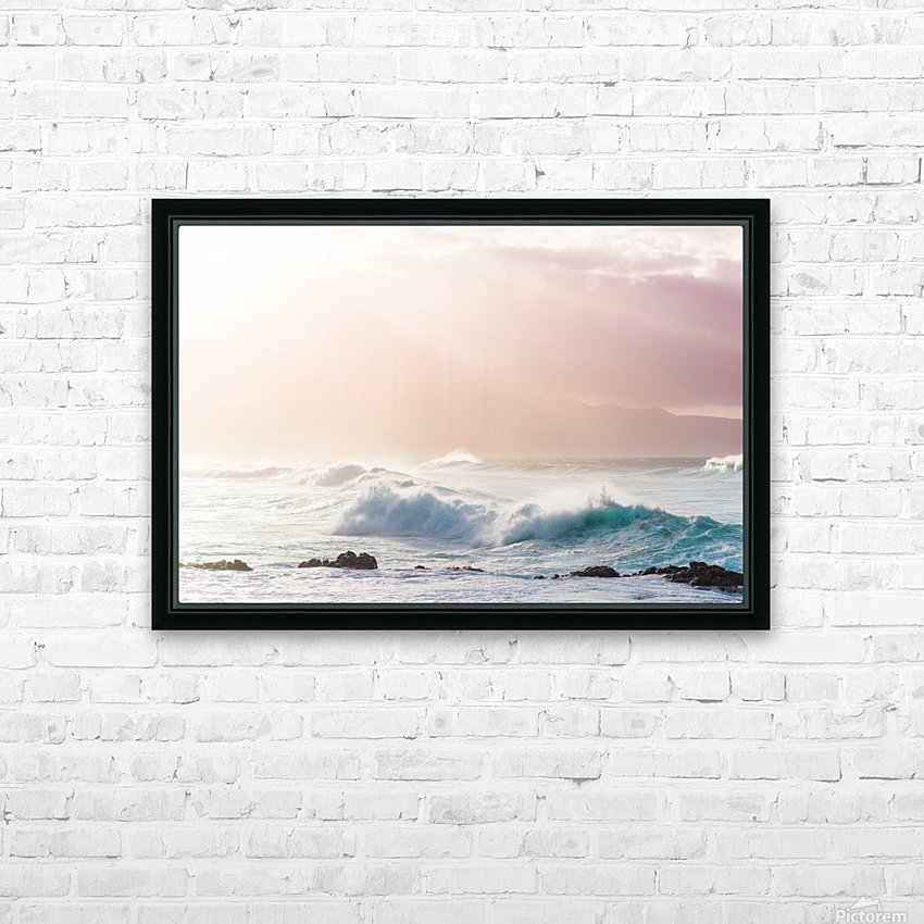 Light Waves HD Sublimation Metal print with Decorating Float Frame (BOX)