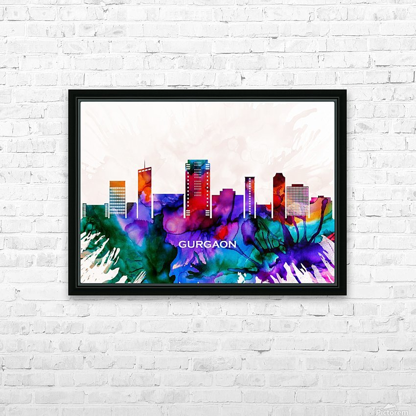 Gurgaon Skyline HD Sublimation Metal print with Decorating Float Frame (BOX)