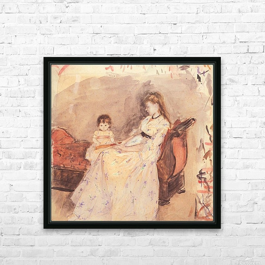 Edma, the sister of the artist with her daughter by Morisot HD Sublimation Metal print with Decorating Float Frame (BOX)