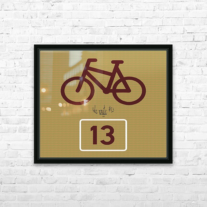 Bike Route number 13 HD Sublimation Metal print with Decorating Float Frame (BOX)