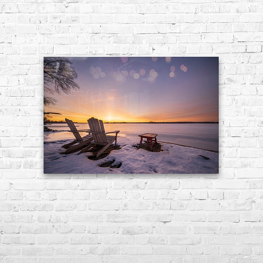 Morning by the Frozen River HD Sublimation Metal print with Decorating Float Frame (BOX)