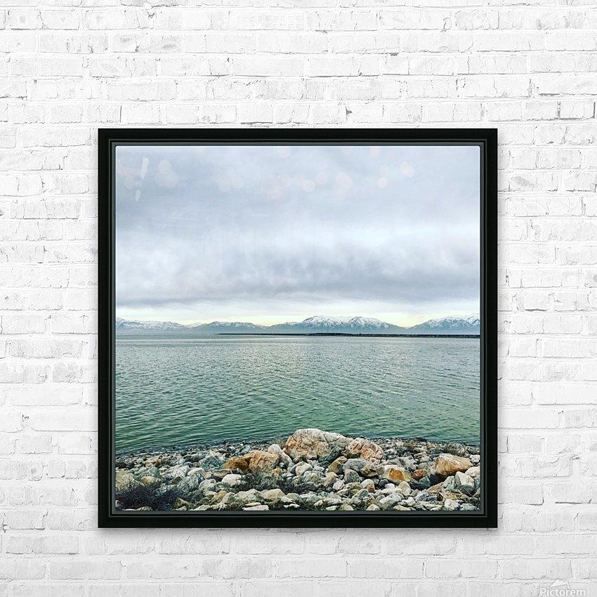 Great Salt Lake Shoreline HD Sublimation Metal print with Decorating Float Frame (BOX)