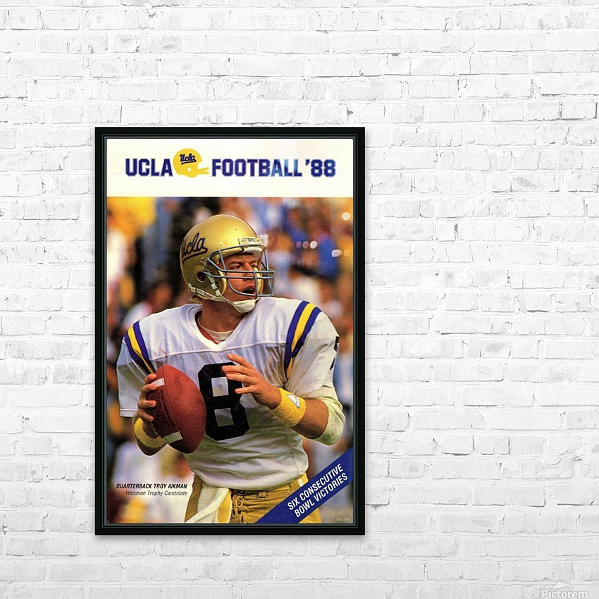 1988 Troy Aikman UCLA Football Poster HD Sublimation Metal print with Decorating Float Frame (BOX)