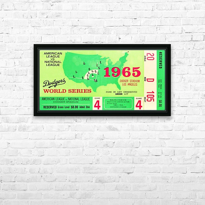 1965 World Series Ticket Stub Game 4 HD Sublimation Metal print with Decorating Float Frame (BOX)