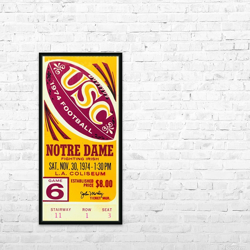 1974 USC vs. Notre Dame HD Sublimation Metal print with Decorating Float Frame (BOX)
