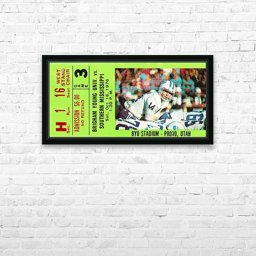 1976 BYU Cougars Ticket Stub HD Sublimation Metal print with Decorating Float Frame (BOX)