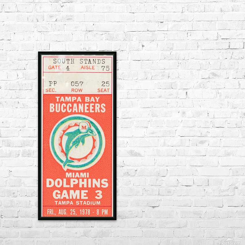 1978 Miami Dolphins Football Ticket Stub Art HD Sublimation Metal print with Decorating Float Frame (BOX)