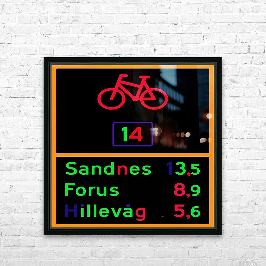 Norwegian bike route sign HD Sublimation Metal print with Decorating Float Frame (BOX)