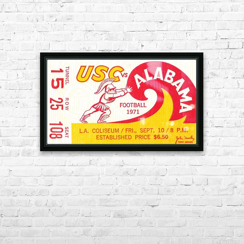1971 Alabama vs. USC HD Sublimation Metal print with Decorating Float Frame (BOX)