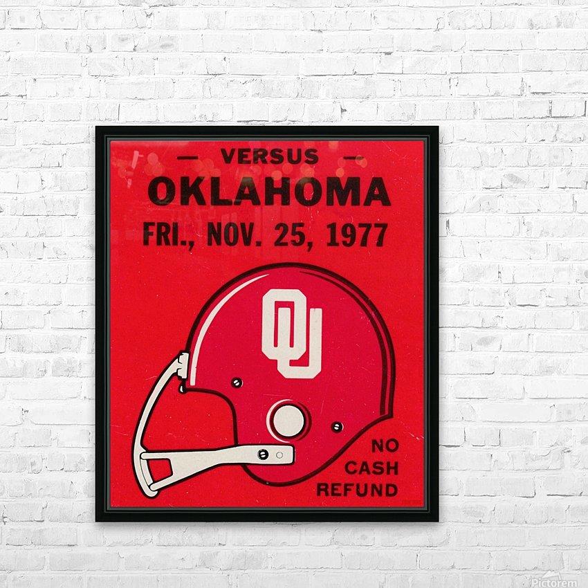 1977 Oklahoma Sooners Helmet Art HD Sublimation Metal print with Decorating Float Frame (BOX)