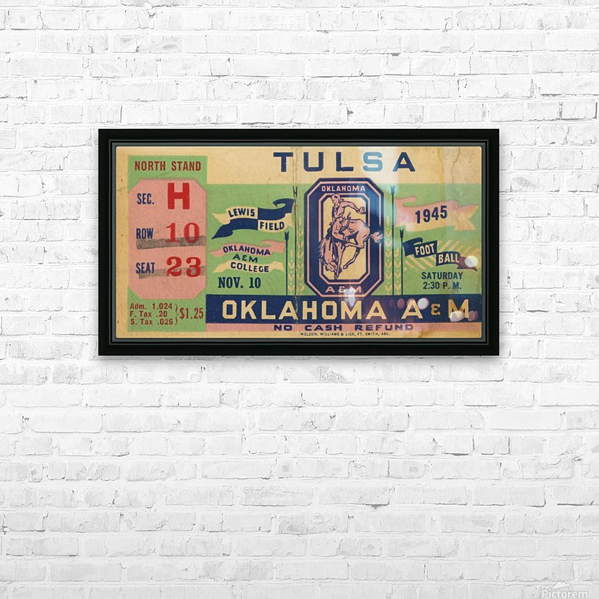 1945 Oklahoma A&M vs. Tulsa HD Sublimation Metal print with Decorating Float Frame (BOX)