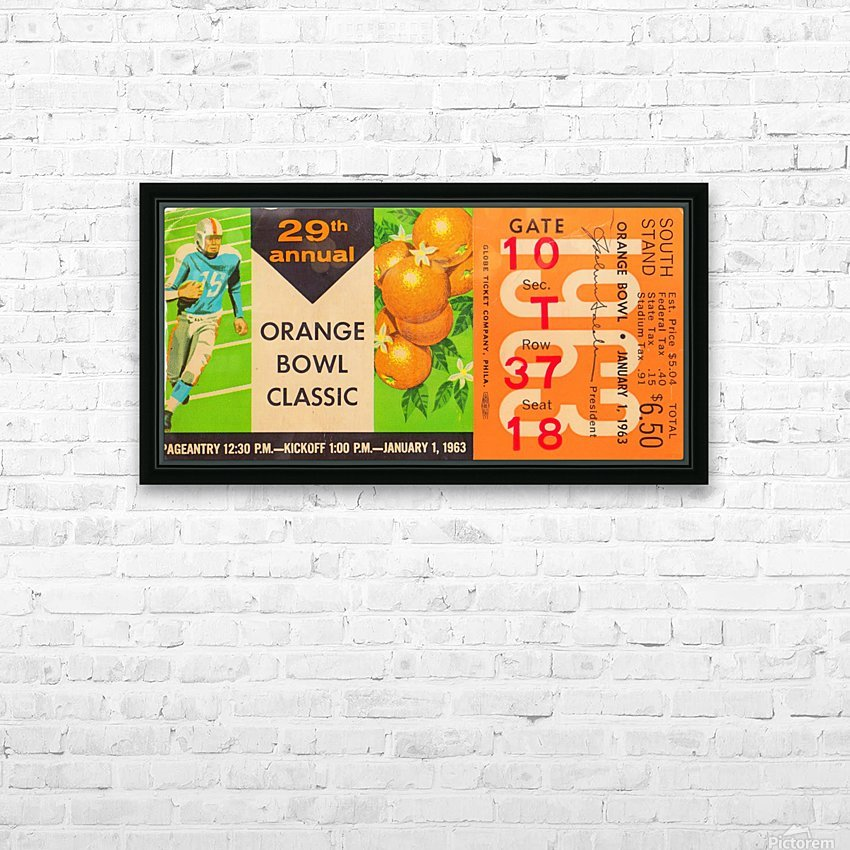 1963_College_Football_Orange_Bowl_Oklahoma vs. Alabama_Miami_Row One Brand HD Sublimation Metal print with Decorating Float Frame (BOX)