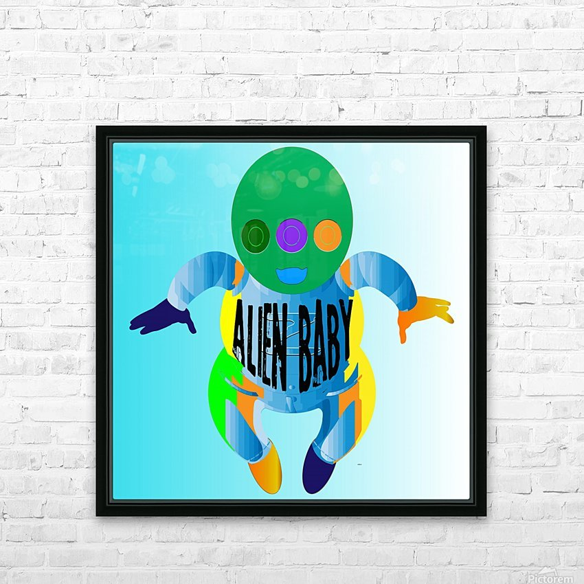 Alien Baby HD Sublimation Metal print with Decorating Float Frame (BOX)