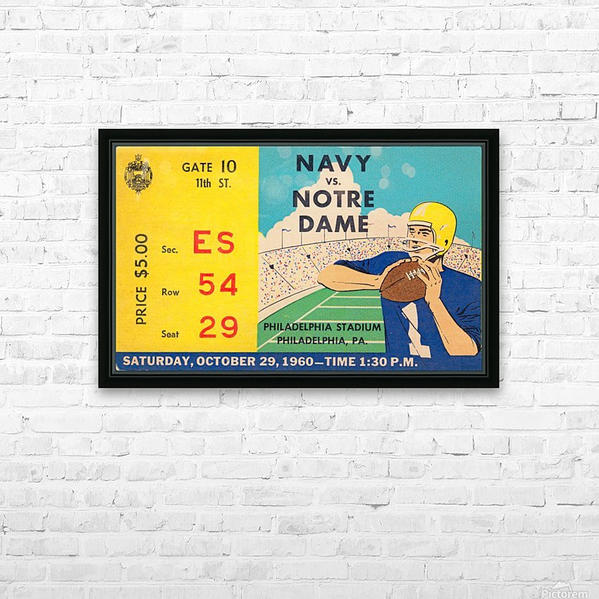 1960_College_Football_Notre Dame vs. Navy_Municipal Stadium_Row One Brand Football Art HD Sublimation Metal print with Decorating Float Frame (BOX)