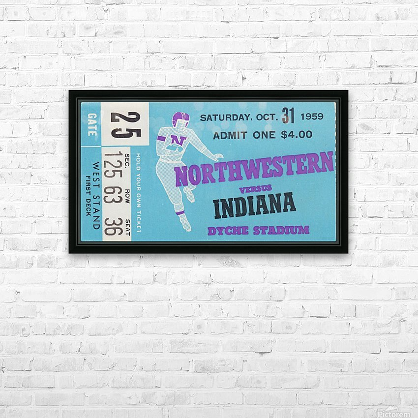 1959_College_Football_Northwestern vs. Indiana_Dyche Stadium_Row One Brand Tickets HD Sublimation Metal print with Decorating Float Frame (BOX)