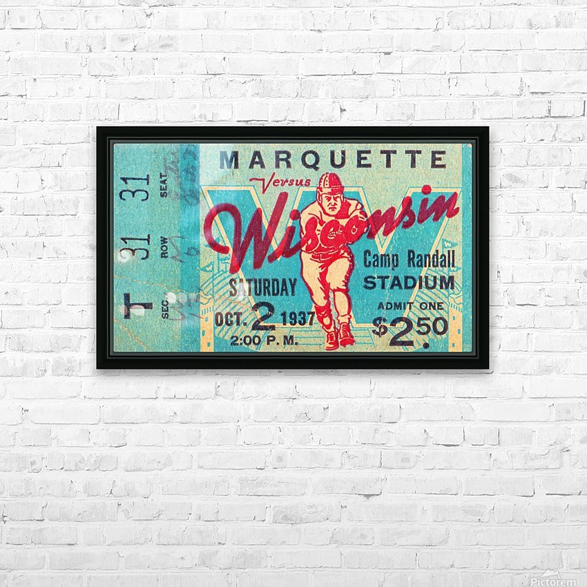 1937 Marquette vs. Wisconsin HD Sublimation Metal print with Decorating Float Frame (BOX)