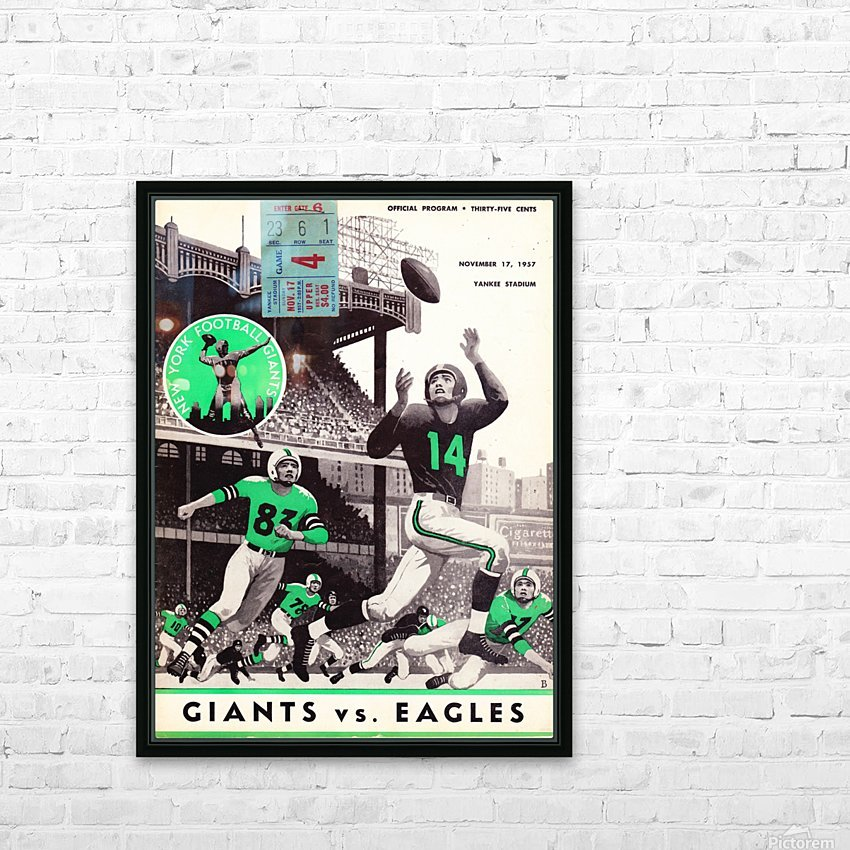 1957 New York Giants vs. Eagles Football Program Canvas HD Sublimation Metal print with Decorating Float Frame (BOX)