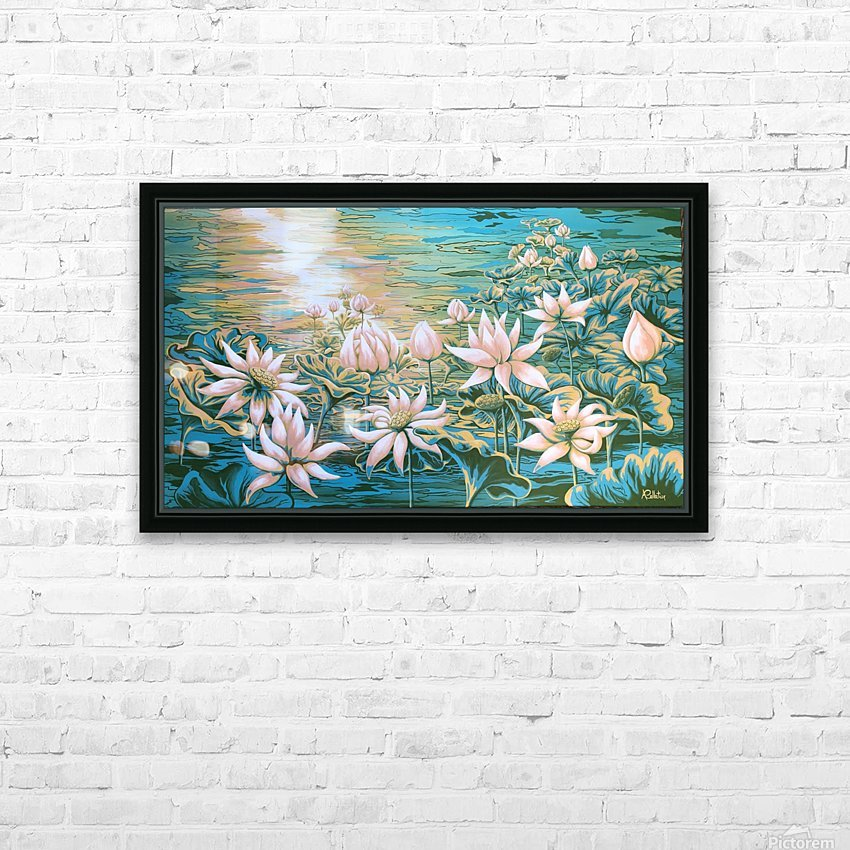 Pink lotus HD Sublimation Metal print with Decorating Float Frame (BOX)