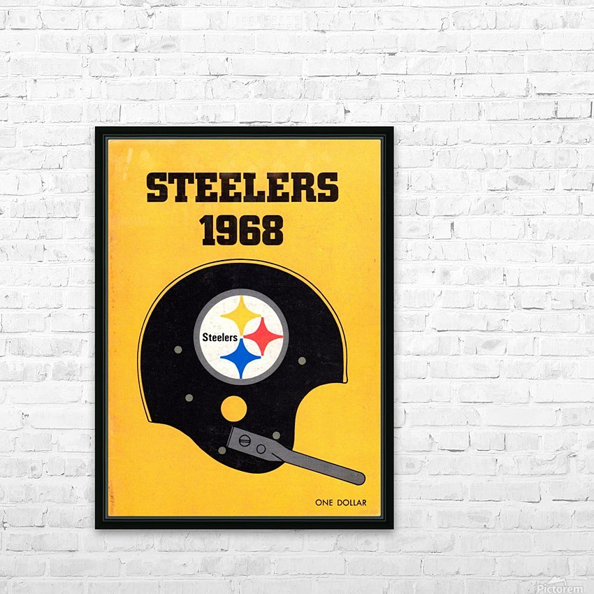 1968_National Football League_Pittsburgh Steelers_Media Guide_Row One Brand Vintage Media Guide Art HD Sublimation Metal print with Decorating Float Frame (BOX)