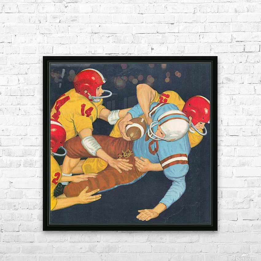 Classic Vintage Football Art  HD Sublimation Metal print with Decorating Float Frame (BOX)
