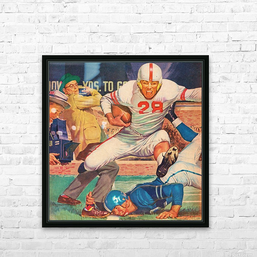 Vintage Football Art HD Sublimation Metal print with Decorating Float Frame (BOX)