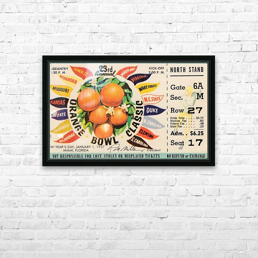 1957 Orange Bowl Ticket Canvas HD Sublimation Metal print with Decorating Float Frame (BOX)