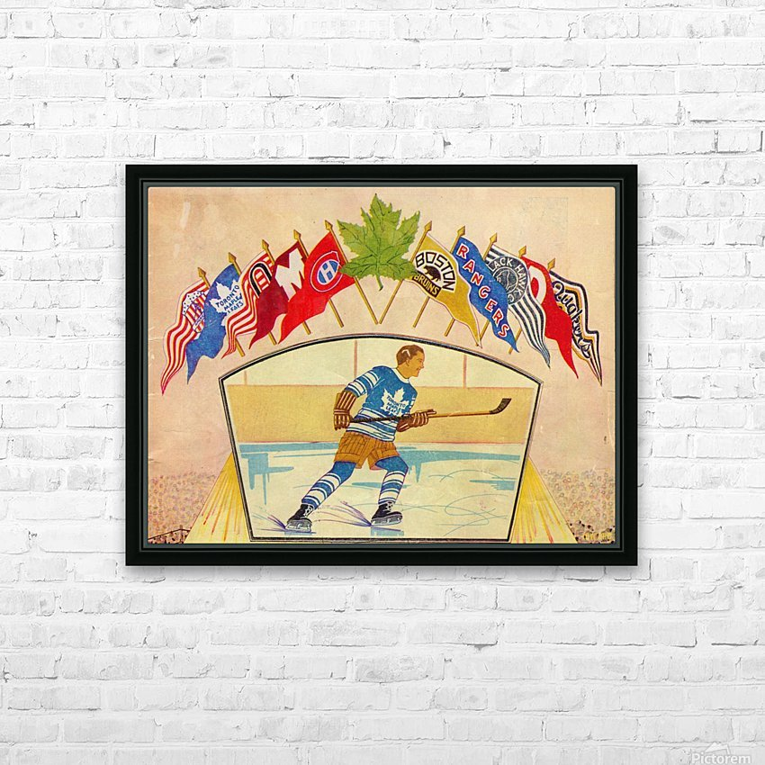 Vintage Hockey Art 1932 HD Sublimation Metal print with Decorating Float Frame (BOX)