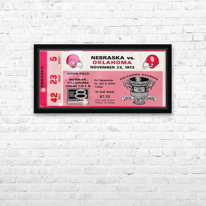 1973_College_Football_Oklahoma vs. Nebraska_Owen Field_University of Oklahoma Football Tickets HD Sublimation Metal print with Decorating Float Frame (BOX)