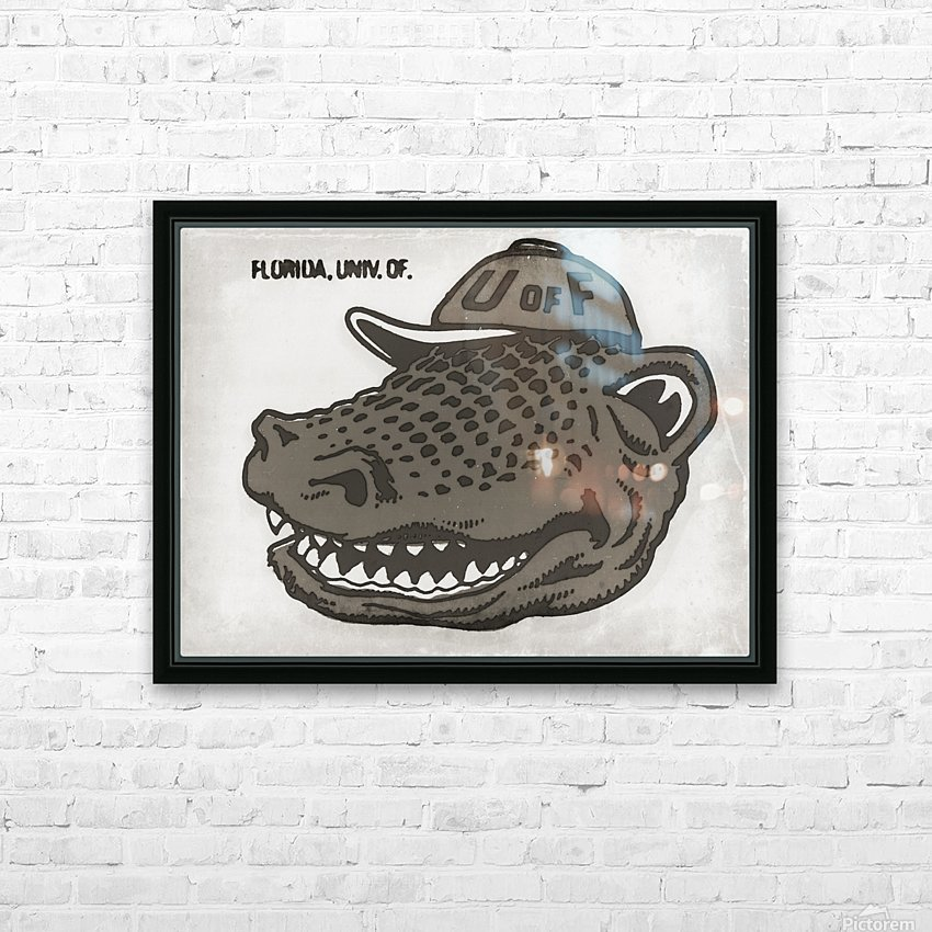 Vintage Florida Gator Art Reproduction Print Black and White HD Sublimation Metal print with Decorating Float Frame (BOX)