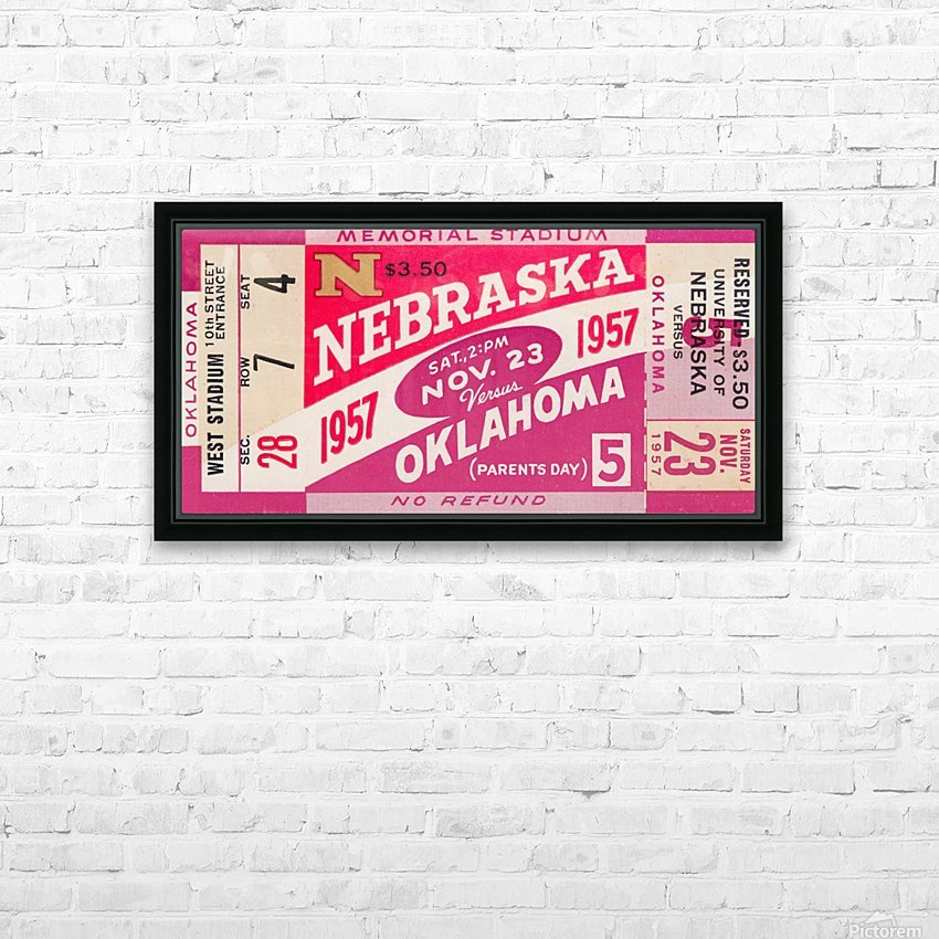 1957_College_Football_Nebraska vs. Oklahoma_Historic Memorial Stadium Lincoln_College Wall Art HD Sublimation Metal print with Decorating Float Frame (BOX)