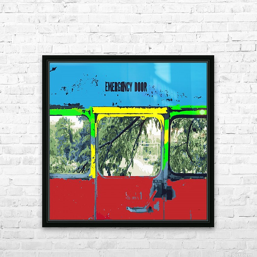 Emergency Door School Bus HD Sublimation Metal print with Decorating Float Frame (BOX)